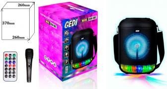 Колонка GEDI 891 USB/MP3/FM/BT/TWS (260*260*370 / проводной микрофон) Черный