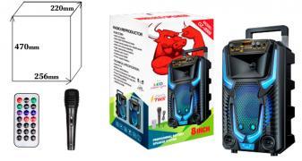 Колонка BIG GZ-8908 USB/MP3/FM/BT/TWS (256*220*470 / проводной микрофон) Черный