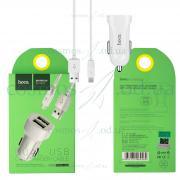 Автомобильное зарядное устройство HOCO 2в1  Micro Z2А белый